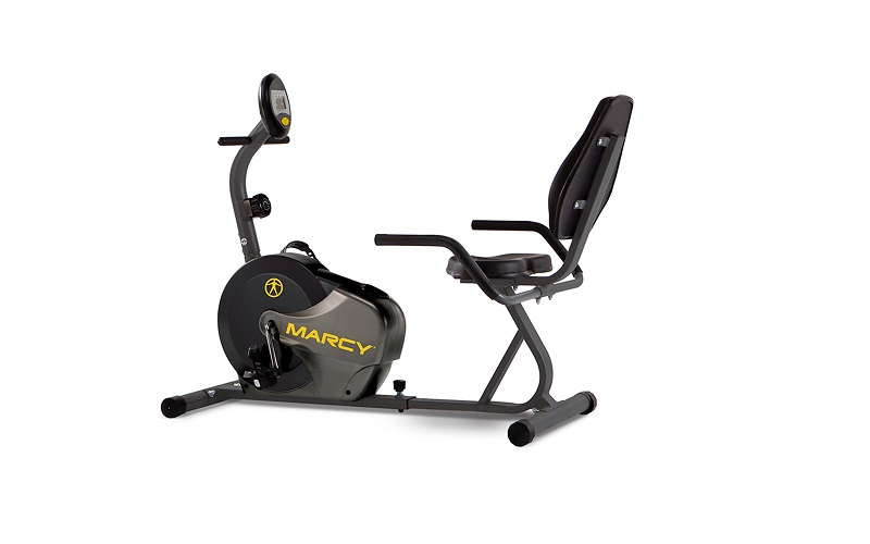 Marcy Magnetic Recumbent Bike with Adjustable Resistance and Transport Wheels NS-716R